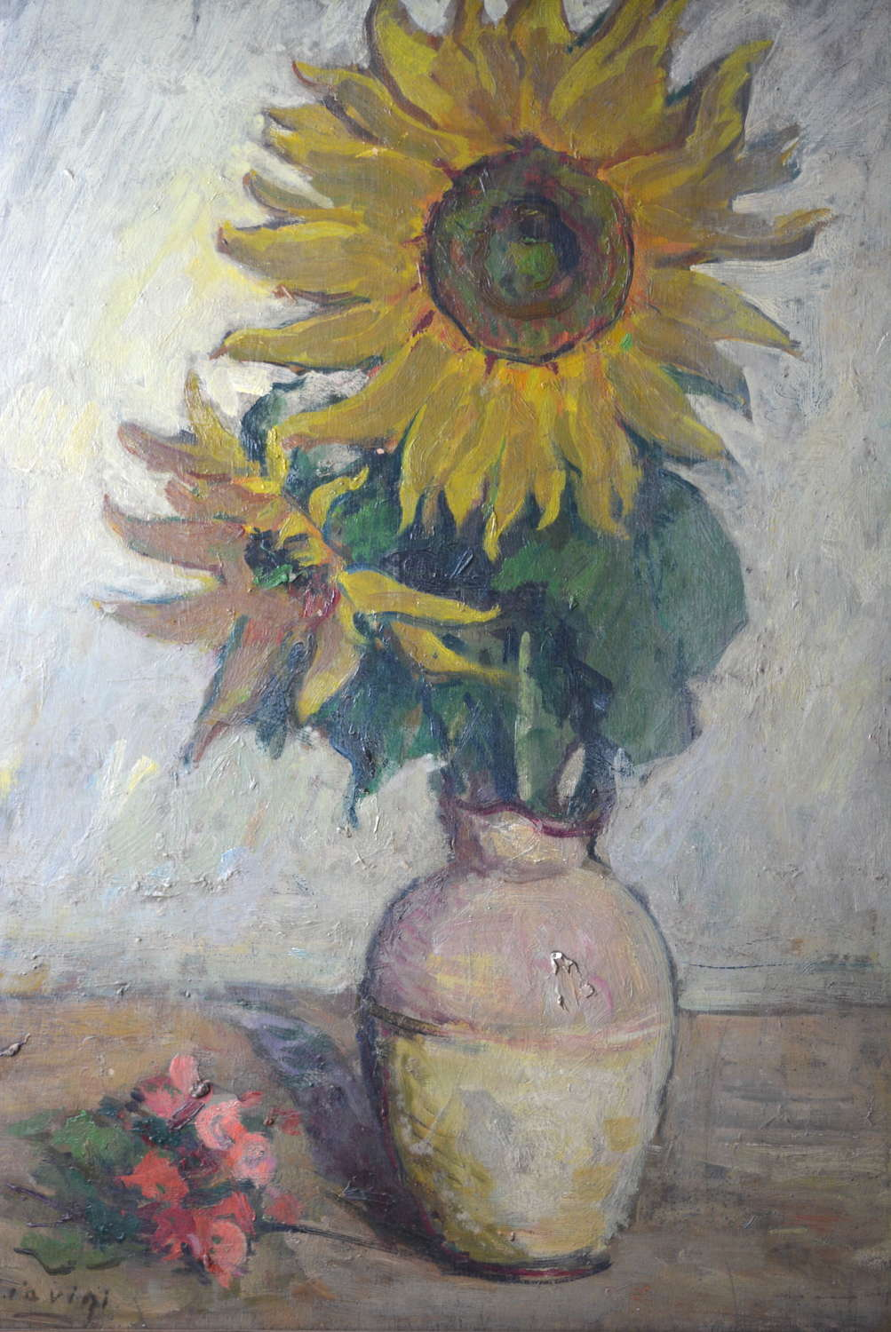 MID CENTURY OIL ON BOARD OF SUNFLOWERS BY GIOVANNI GIAVINI