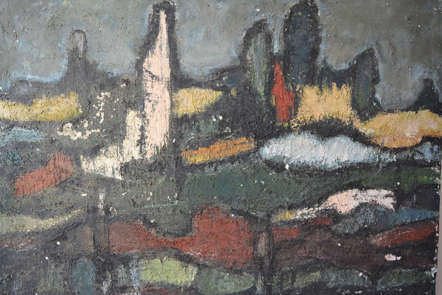 MID CENTURY ABSTRACT GERMAN LANDSCAPE