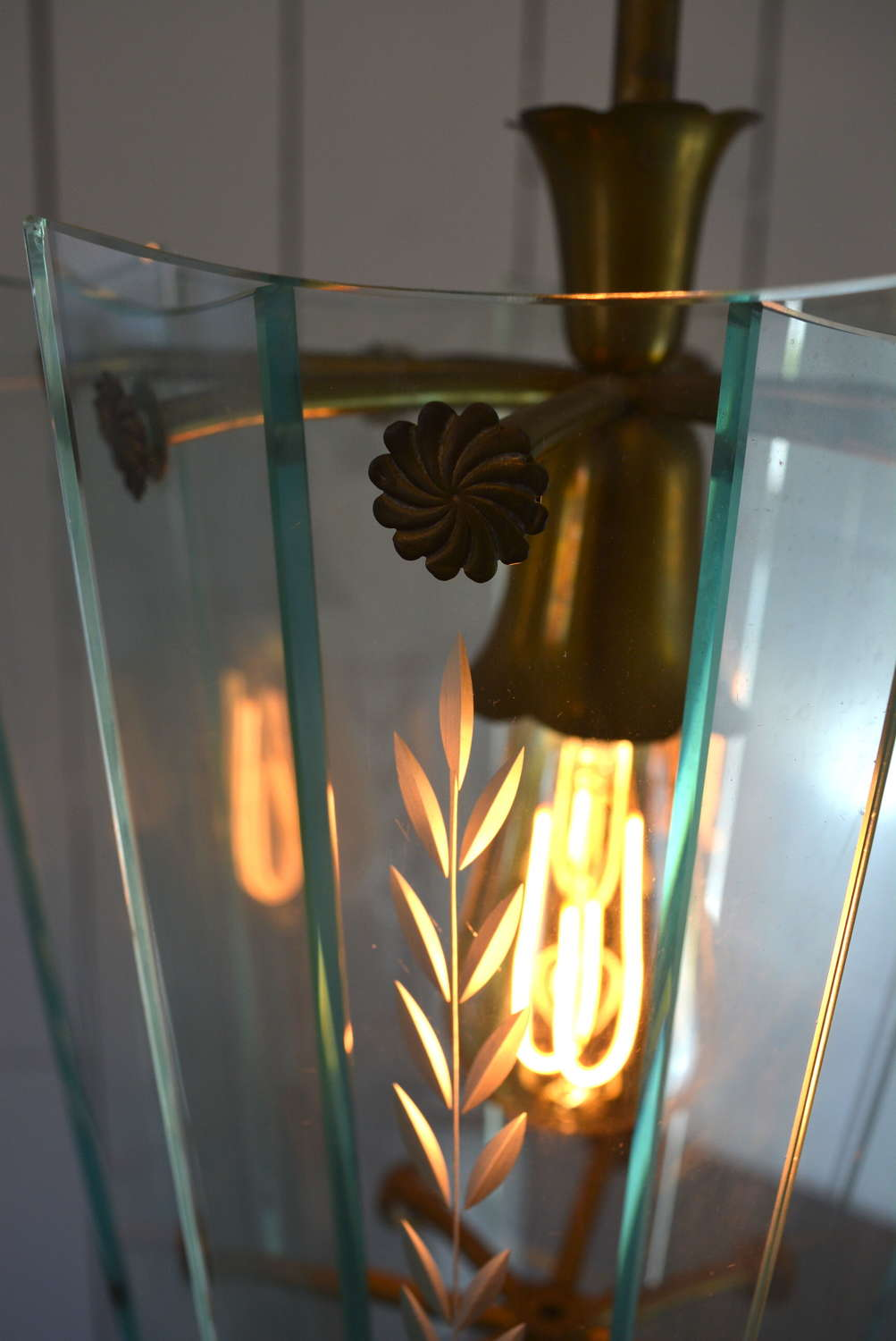 PAIR OF MID CENTURY ETCHED GLASS ITALIAN LIGHTS