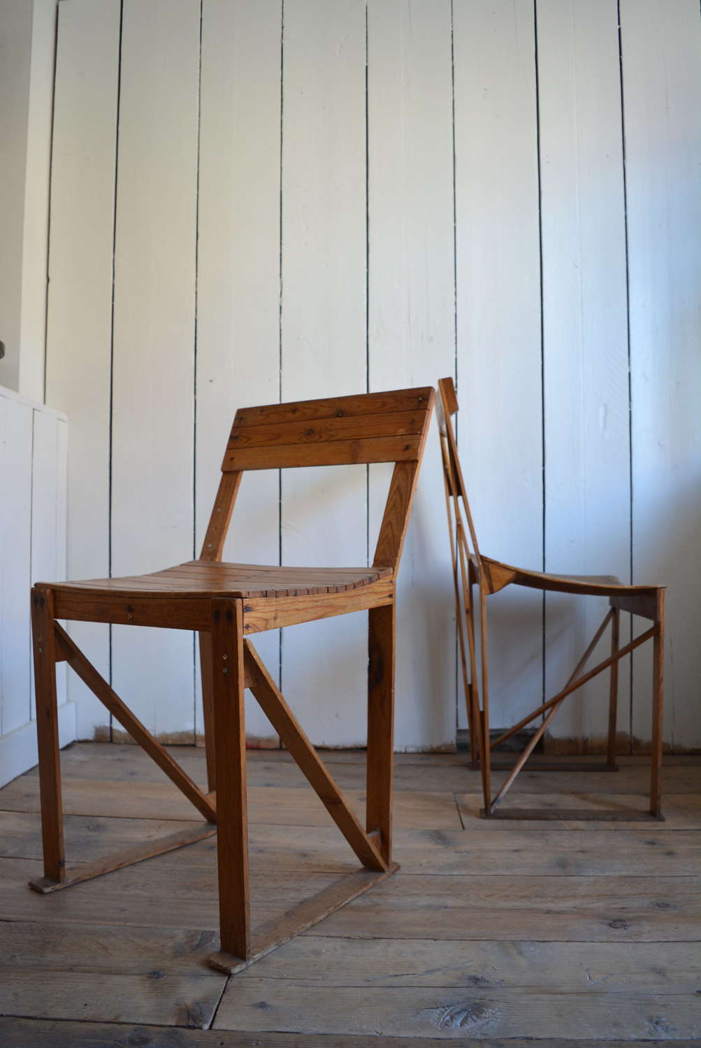 PAIR OF PROTOTYPE STRIP PINE CHAIRS 1980
