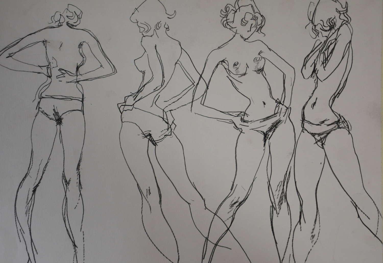 PETER COLLINS PENCIL STUDY OF SEMI NUDE FEMALE