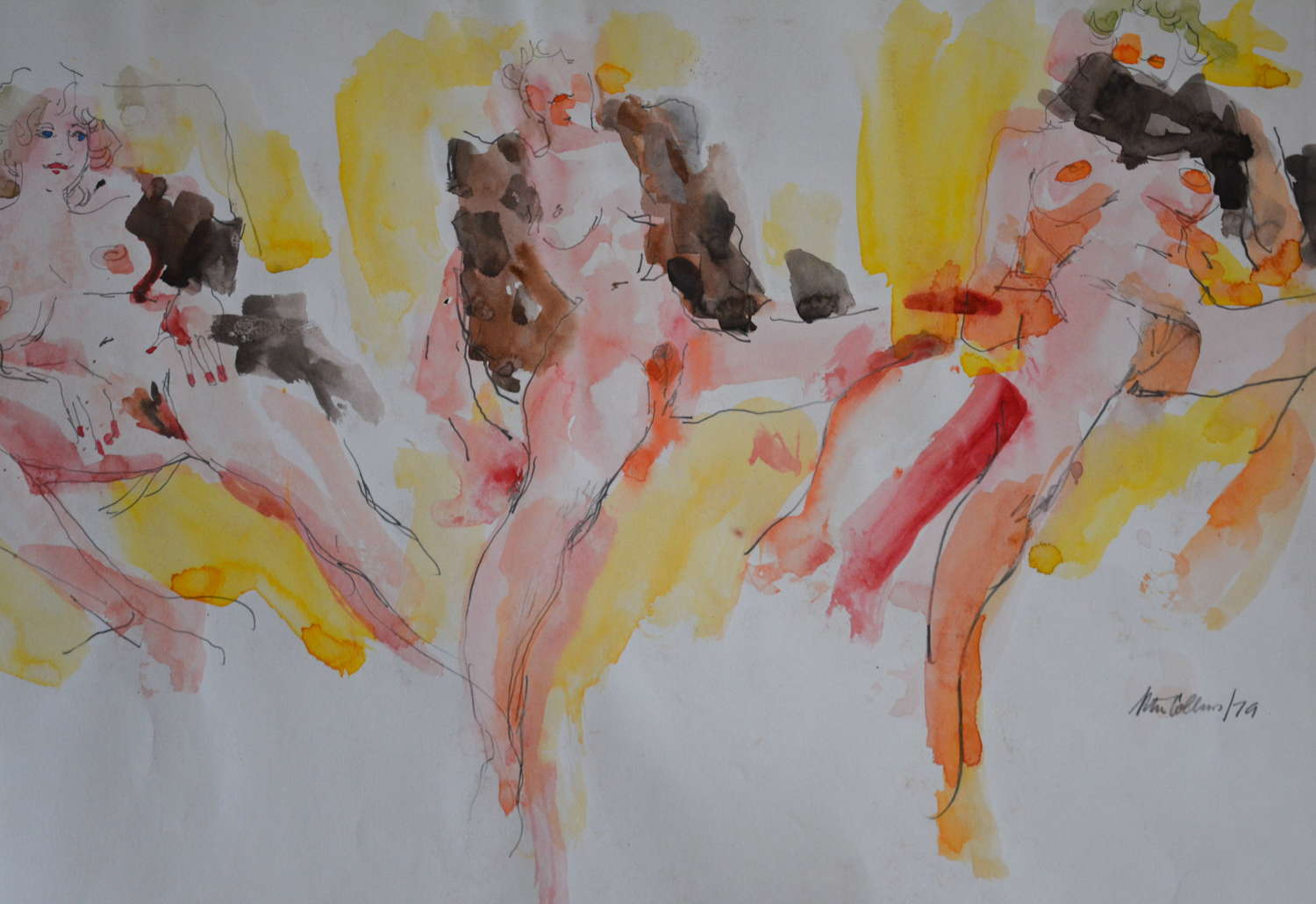 PETER COLLINS WATERCOLOUR STUDY OF A FEMALE NUDE