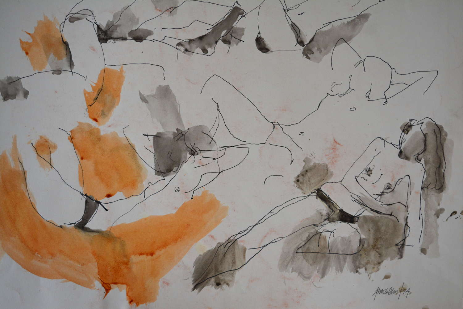 PEN AND WASH STUDY OF A FEMALE NUDE BY PETER COLLINS