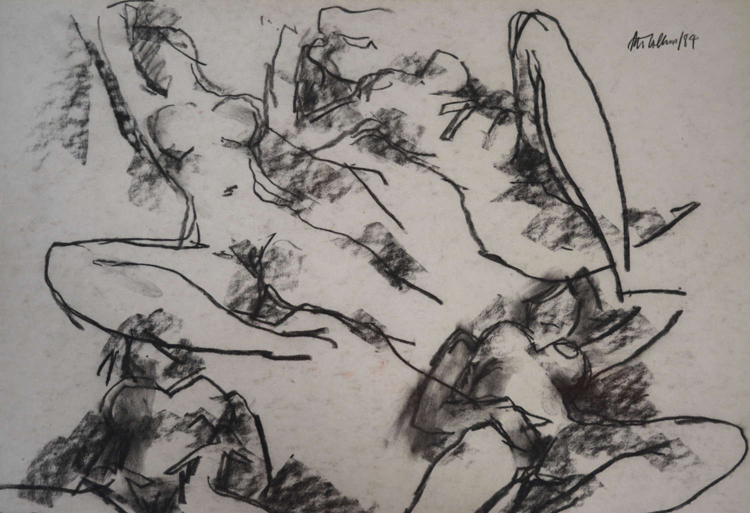 PETER COLLINS CHARCOAL STUDY OF A FEMALE NUDE