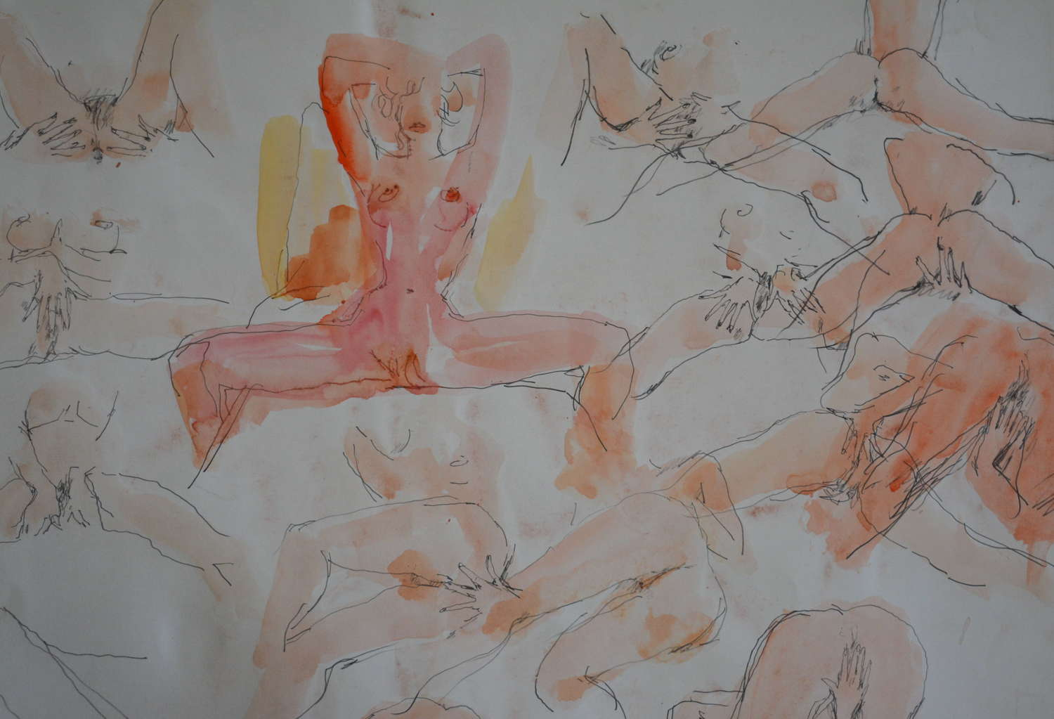 PETER COLLINS PEN AND WASH STUDY OF A FEMALE NUDE