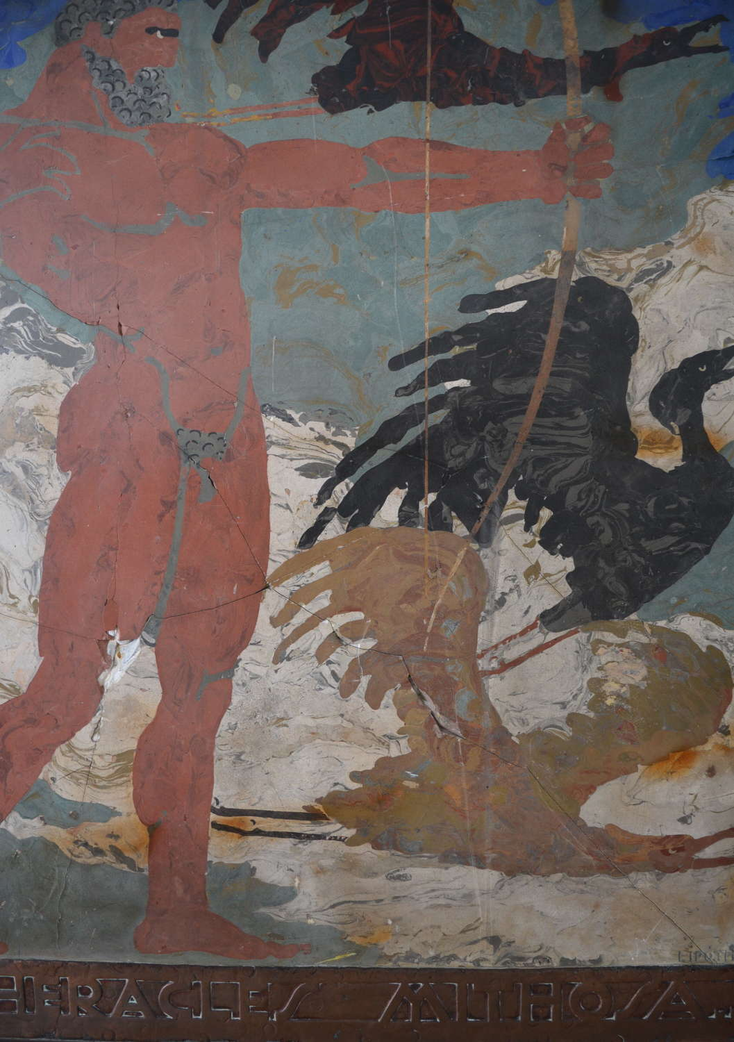 SCAGLIOLA PANEL OF HERACLES AND THE STYMPHALIAN BIRDS