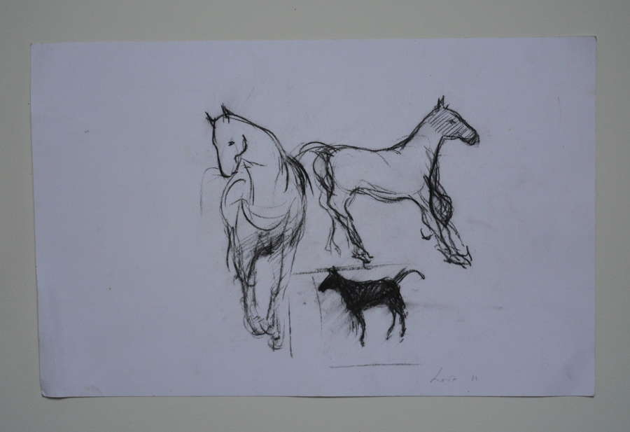 STUDY OF HORSES AND DOG BY KAREN LORENZ