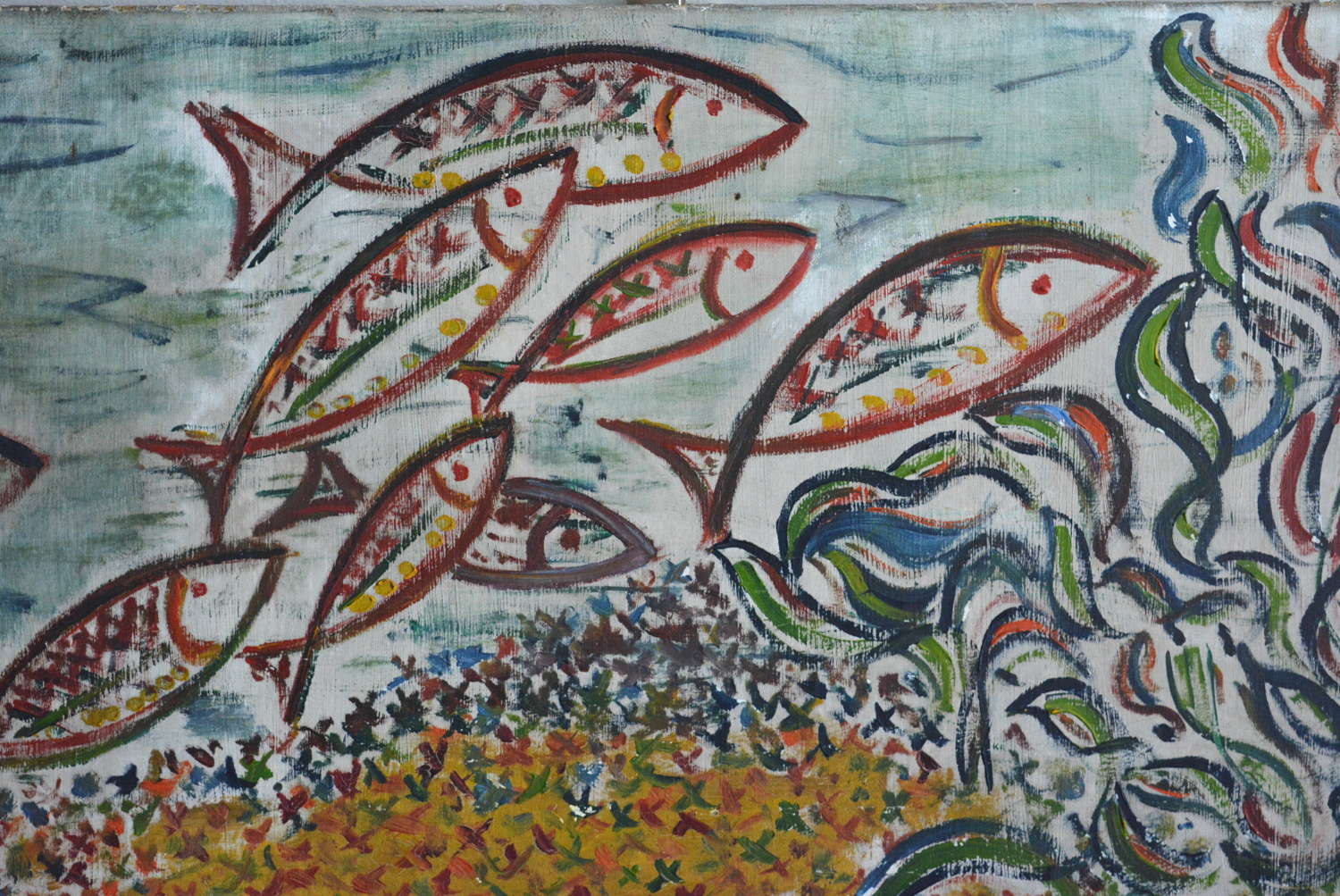 OIL ON CANVAS EXPRESSIONIST FISH PAINTING