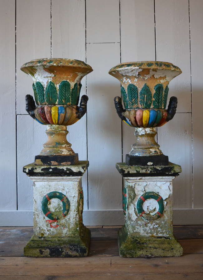 NAPOLEAN 3RD COADE STONE PAINTED URNS CIRCA 1860