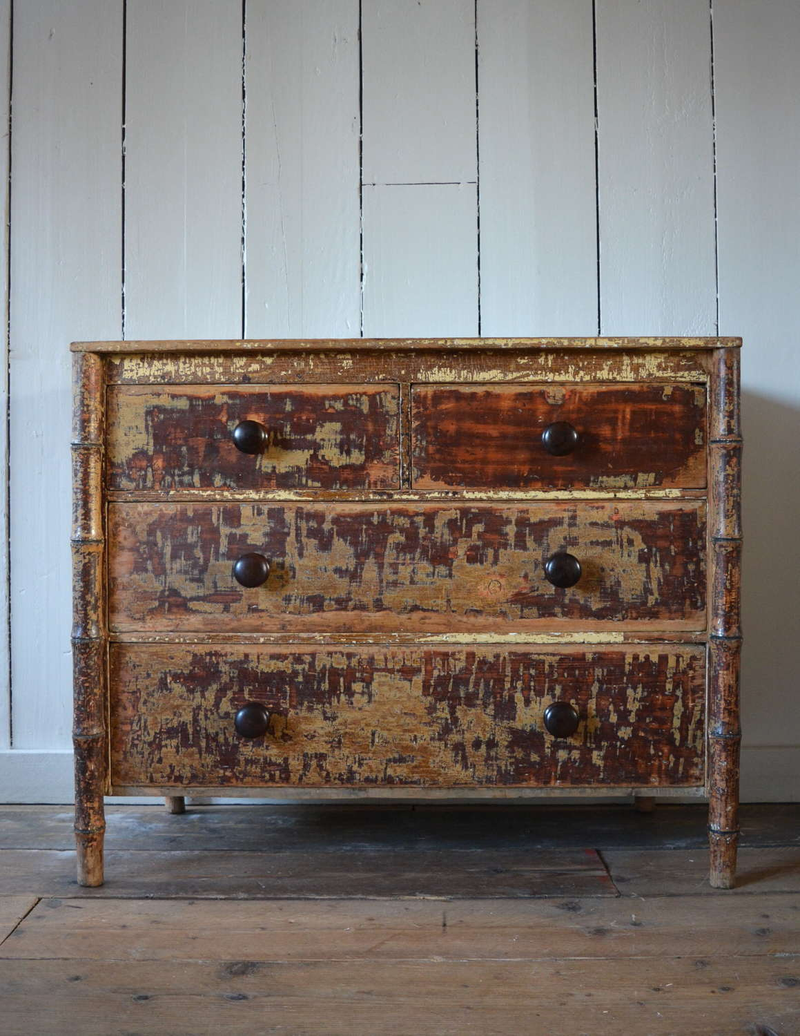 19TH CENTURY FAUX BAMBOO CHEST