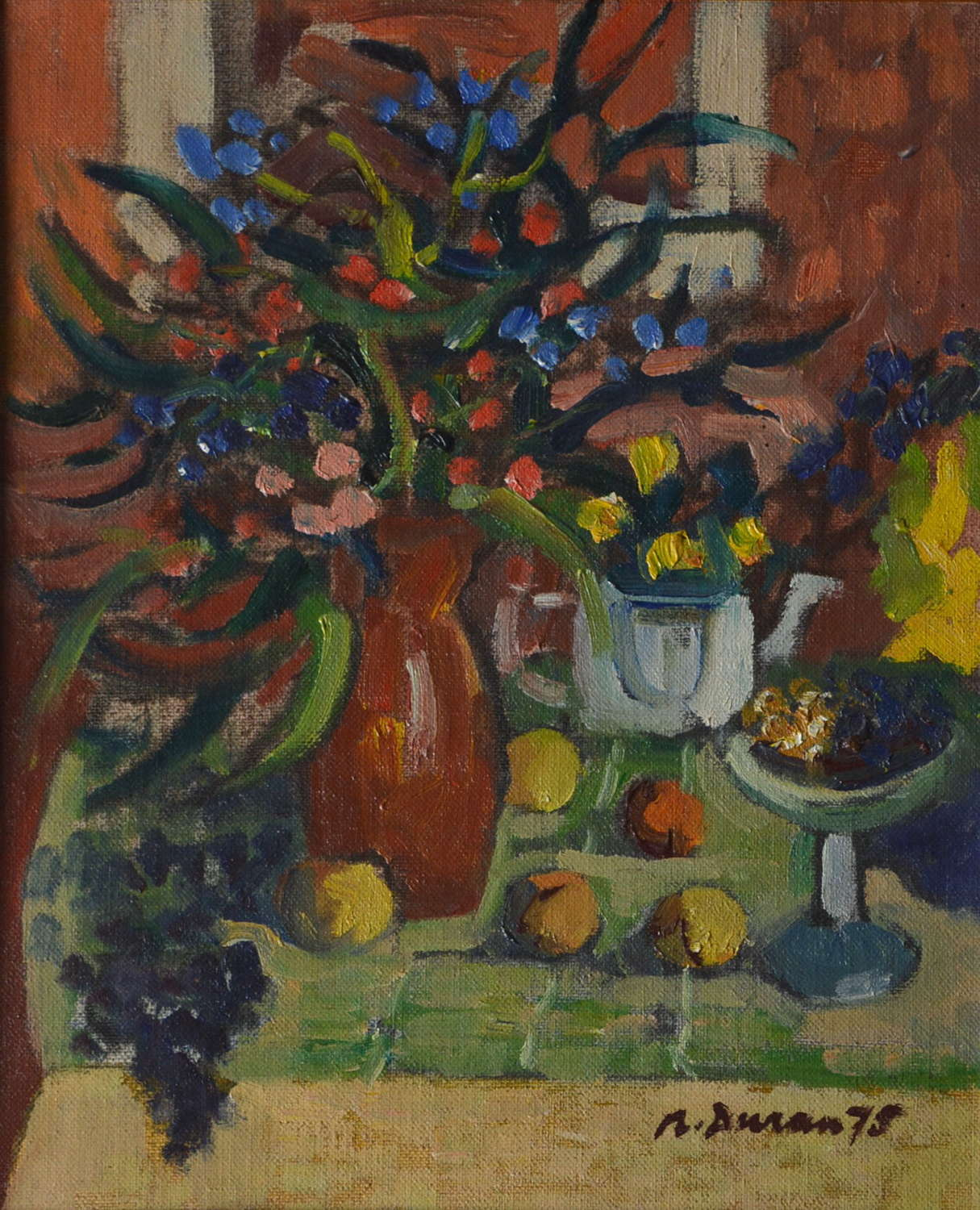 STILL LIFE OF FRUIT AND FLOWERS BY RAFAEL DURAN BENET