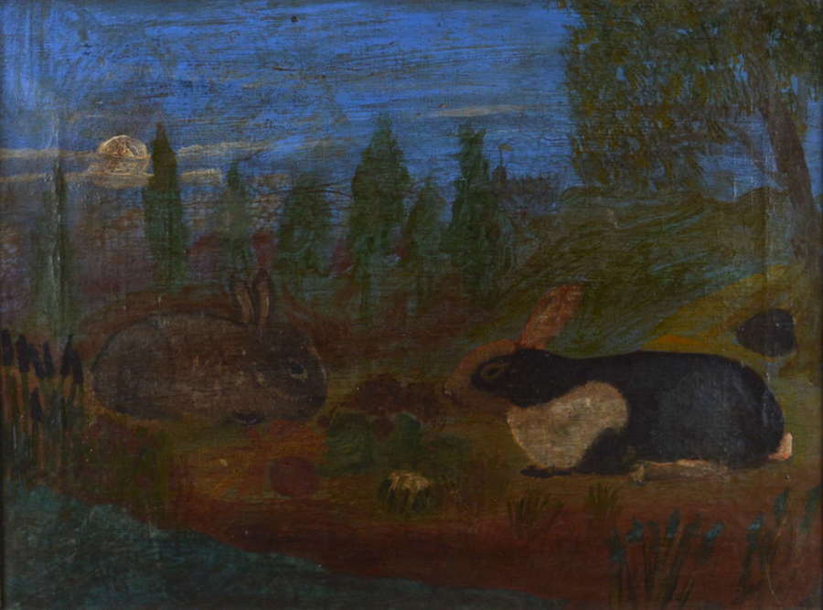 19TH CENTURY FRENCH FOLK ART STUDY OF RABBITS