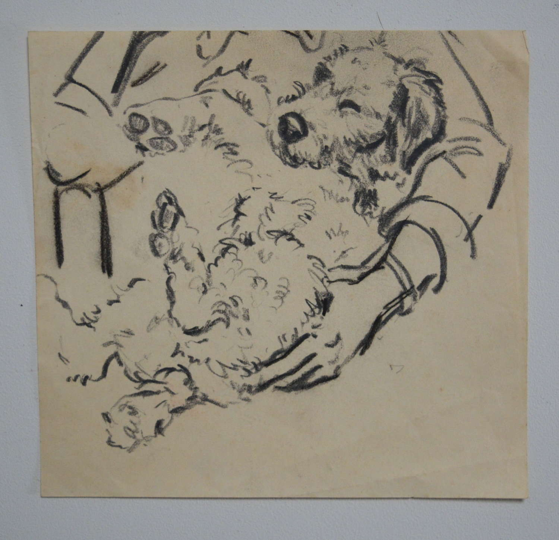 HYMAN SEGAL PENCIL STUDY OF A DOG